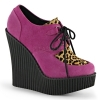 CREEPER-304 Hot Pink Vegan Suede/Leopard